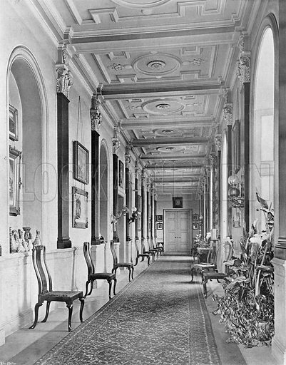 The Long Corridor. Photograph in In English Homes Vol 1 (Country Life, 1904).