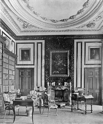 The Library. Photograph in In English Homes Vol 1 (Country Life, 1904).