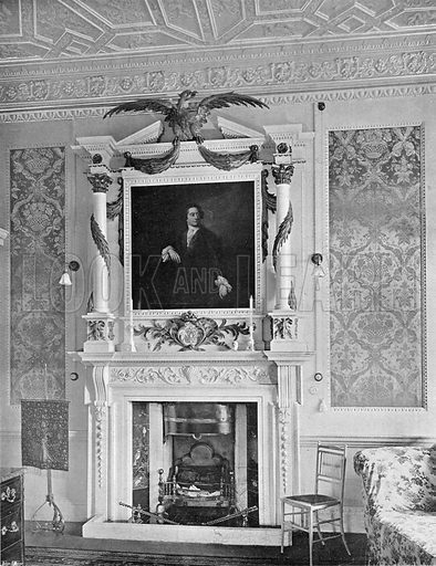 """The Marble Chimney-Piece in the """"Redlynch Room."""" Photograph in In English Homes Vol 1 (Country Life, 1904)."""