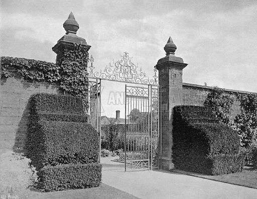 To the Kitchen Garden. Photograph in Gardens Old and New Vol III (Country Life, c 1910).