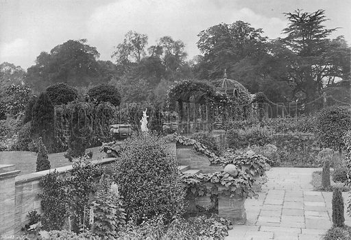 East Pergola from the Pond Garden. Photograph in Gardens Old and New Vol III (Country Life, c 1910).