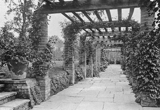 Looking South Down the Pergola. Photograph in Gardens Old and New Vol III (Country Life, c 1910).