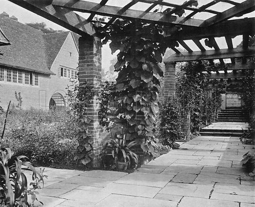 Looking North Up the Pergola. Photograph in Gardens Old and New Vol III (Country Life, c 1910).