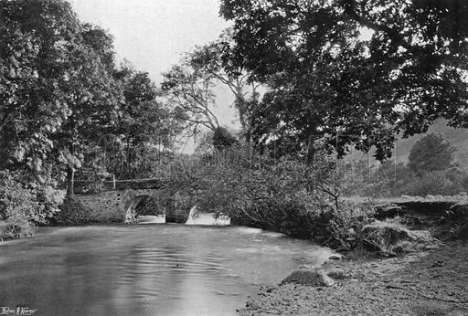 Across the Bridge to Newton. Photograph in Gardens Old and New Vol III (Country Life, c 1910).