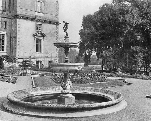 The Ilex and the Fountain. Photograph in Gardens Old and New Vol III (Country Life, c 1910).
