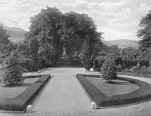 From the Entrance Terrace--Borders of White Heather. Photograph in Gardens Old and New Vol III (Country Life, c 1910).