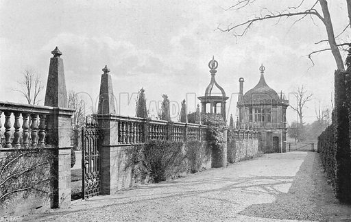 The South Walk Outside the Forecourt. Photograph in Gardens Old and New Vol III (Country Life, c 1910).