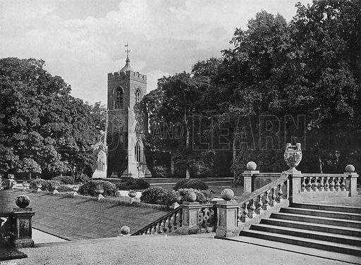 The Church at Castle Ashby. Photograph in Gardens Old and New Vol III (Country Life, c 1910).
