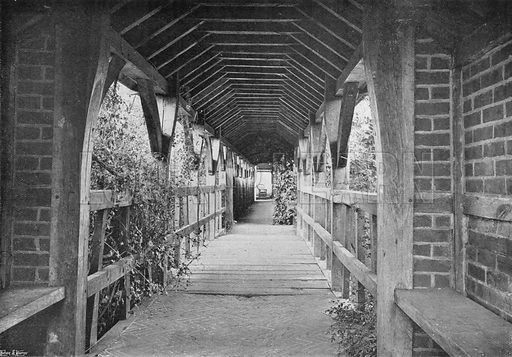 The Covered Way over the Bridge. Photograph in Gardens Old and New Vol III (Country Life, c 1910).