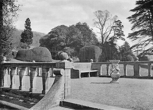 Hardwick House: A Balustraded Terrace. Photograph in Gardens Old and New Vol III (Country Life, c 1910).
