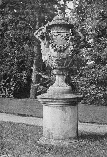 A Stone Urn at Newbold Revel. Photograph in Gardens Old and New Vol III (Country Life, c 1910).
