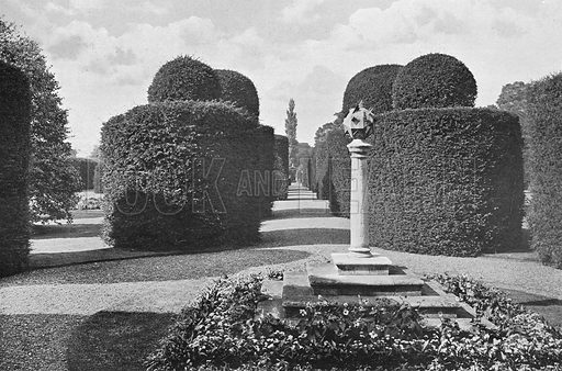 Heslington Hall: Shapely Topiary Work. Photograph in Gardens Old and New Vol III (Country Life, c 1910).