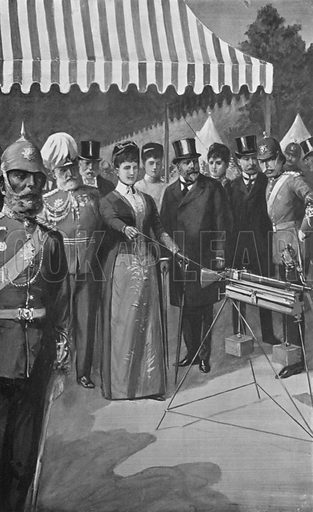 The Princess of Wales Firing the First Shot at Bisley, July 12, 1890. Illustration for King Edward VII (Gresham, 1910).