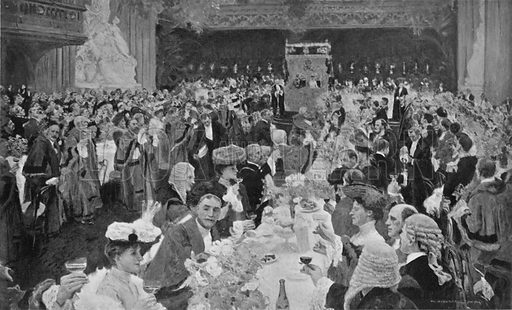 King Edward's Reception by the City Fathers in the Guildhall, October 25th, 1902. Illustration for King Edward VII (Gresham, 1910).