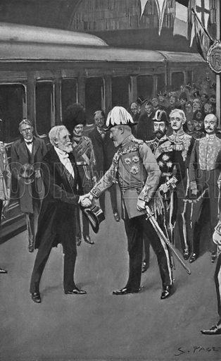King Edward Welcoming President Loubet, July 6, 1903. Illustration for King Edward VII (Gresham, 1910).