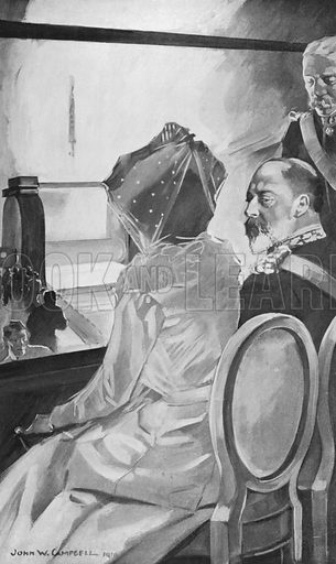 King Edward Watching the Rolling of Steel Plates at Sheffield, July 12, 1906. Illustration for King Edward VII (Gresham, 1910).