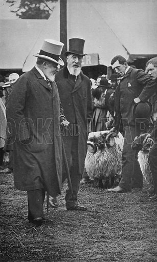 King Edward and the Late Duke of Devonshire at the Royal Agricultural Show, Derby, June, 1906. Illustration for King Edward VII (Gresham, 1910).