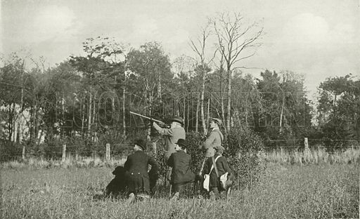 King Edward VII Shooting over Sandringham Preserves. Illustration for King Edward VII (Gresham, 1910).  Retouched image.