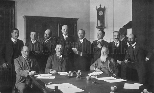 The First Ministry of the Union of South Africa. Back Row (Left to Right): J. B. M. Hertzog, H. Burton, F. R. Moor, Dr. O'Grady Gubbins, J. C. Smuts, H. C. Hull, F. S. Malan, D. P. De Villiers Graaff. Front Row (Left to Right): J. W. Sauer, Louis Botha, Abraham FischerIllustration for King Edward VII (Gresham, 1910).