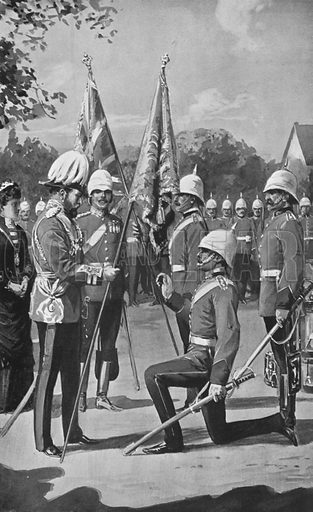 King Edward Presenting Colours to the Royal Welsh Fusiliers, August 16, 1880. Illustration for King Edward VII (Gresham, 1910).