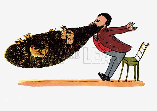 There was an Old Man with a beard.  Illustration for A Book of Nonsense (Frederick Warne, c 1875).  Colouring probably done by Edward Lear himself.