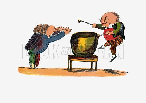 There was an Old Man with a gong.  Illustration for A Book of Nonsense (Frederick Warne, c 1875).  Colouring probably done by Edward Lear himself.