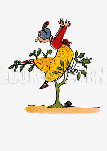 There was an Old Lady whose follly.  Illustration for A Book of Nonsense (Frederick Warne, c 1875).  Colouring probably done by Edward Lear himself.