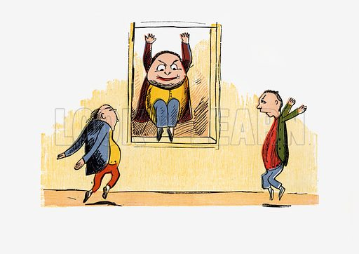 There was an Old Man in a casement.  Illustration for A Book of Nonsense (Frederick Warne, c 1875).  Colouring probably done by Edward Lear himself.