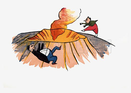 There was an Old Person of Gretna, who rushed down the crater of Etna.  Illustration for A Book of Nonsense (Frederick Warne, c 1875).  Colouring probably done by Edward Lear himself.