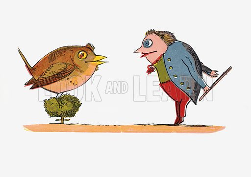"""There was an Old Man who said, """"Hush! I perceive a young bird in this bush!""""  Illustration for A Book of Nonsense (Frederick Warne, c 1875).  Colouring probably done by Edward Lear himself."""