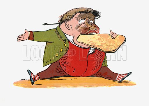 There was an Old Man of Calcutta, who perpetually ate bread and butter.  Illustration for A Book of Nonsense (Frederick Warne, c 1875).  Colouring probably done by Edward Lear himself.