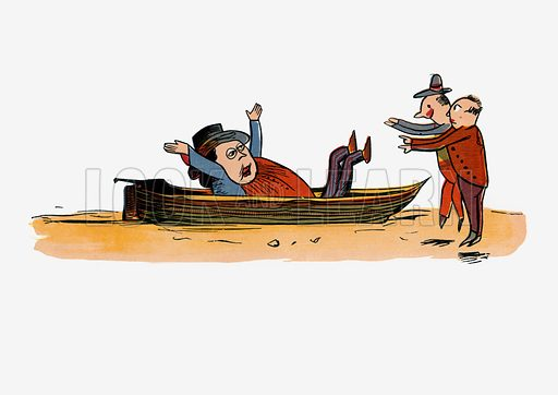 There was an Old Man in a boat.  Illustration for A Book of Nonsense (Frederick Warne, c 1875).  Colouring probably done by Edward Lear himself.