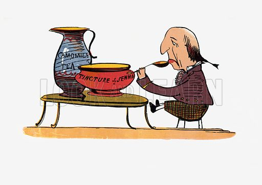 There was an Old Man of Vienna, who lived upon Tincture of Senna.  Illustration for A Book of Nonsense (Frederick Warne, c 1875).  Colouring probably done by Edward Lear himself.