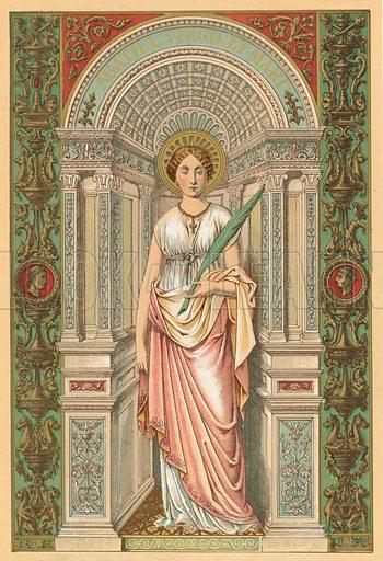 St Agatha.  Illustration for Butler's Lives of the Saints (Virtue, c 1870).