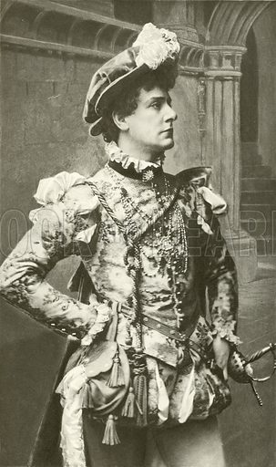 Mr William Terriss as Claudio. Illustration in photogravure for The Plays of William Shakespeare edited by Charles and Mary Cowden Clarke (Cassell, c 1890).