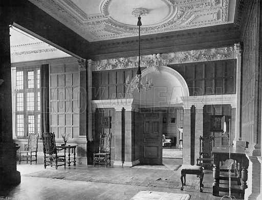 The Hall, looking West. Photograph for In English Homes Vol II (Country Life, 1907).