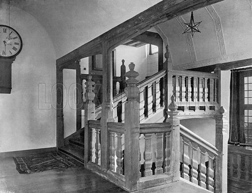 The Staircase. Photograph for In English Homes Vol II (Country Life, 1907).
