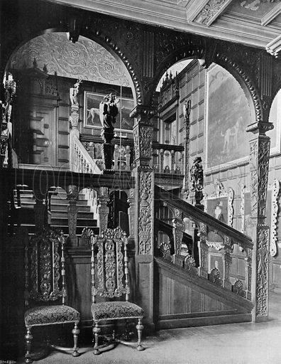The Upper Stairway. Photograph for In English Homes Vol II (Country Life, 1907).