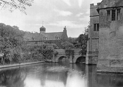 On the West Side of the Moat. Photograph for In English Homes Vol II (Country Life, 1907).