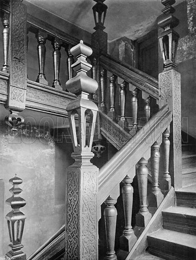 Old Oak Staircase. Photograph for In English Homes Vol II (Country Life, 1907).