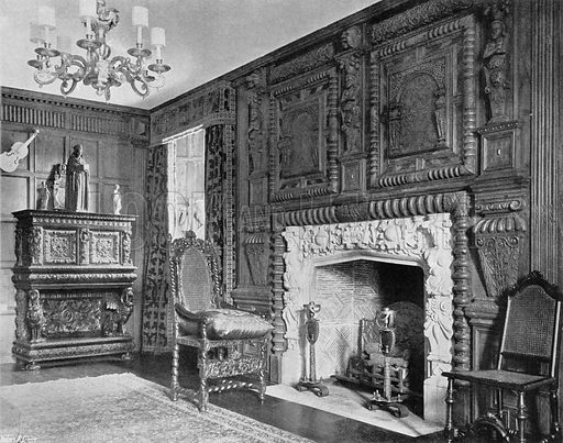 Old Jacobean Work from Devonshire. Photograph for In English Homes Vol II (Country Life, 1907).