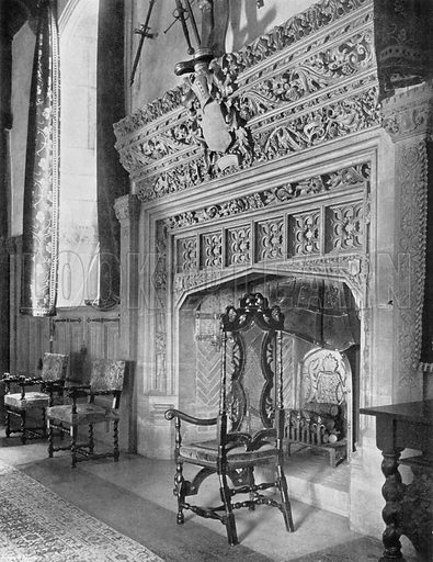 The Chimney-Piece in the Banqueting Hall. Photograph for In English Homes Vol II (Country Life, 1907).