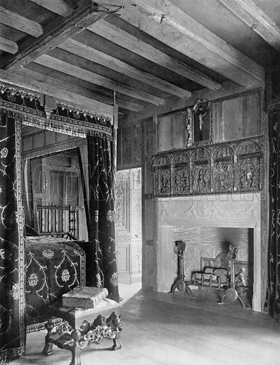 """Viscount Rochford's"" Chamber. Photograph for In English Homes Vol II (Country Life, 1907)."