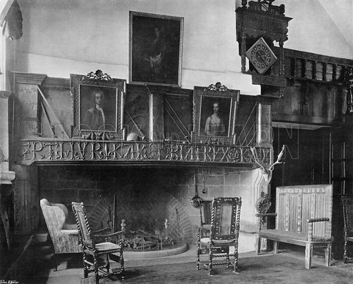 Fireplace in the Hall. Photograph for In English Homes Vol II (Country Life, 1907).