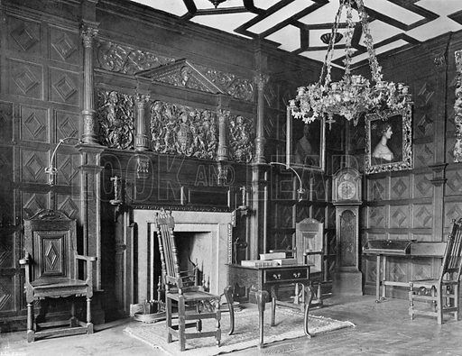 The Morning Room, Date 1563. Photograph for In English Homes Vol II (Country Life, 1907).