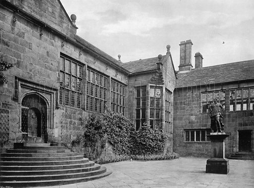 The Hall, Inner Quadrangle and Statue of William of Orange in Lead. Photograph for In English Homes Vol II (Country Life, 1907).