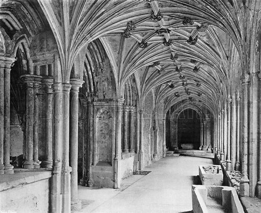 The East Cloister at Laycock Abbey, Wilts. Photograph for In English Homes Vol II (Country Life, 1907).