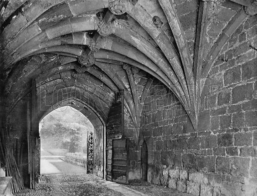 Ancient Vaulting and Wood Gates. Photograph for In English Homes Vol II (Country Life, 1907).