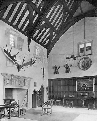 The Great Hall and its Chimney-Piece. Photograph for In English Homes Vol II (Country Life, 1907).