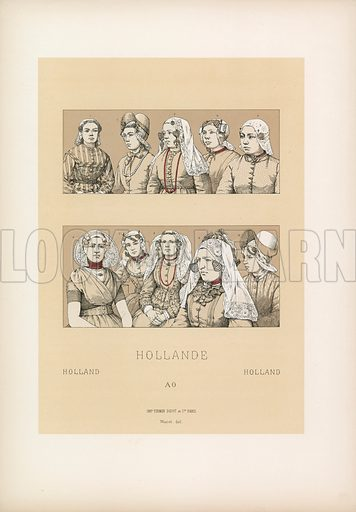 Holland Costume. Illustration for Le Costume Historique by M A Racinet (Firmin Didot, 1888). High definition scan from special unbound folio edition.